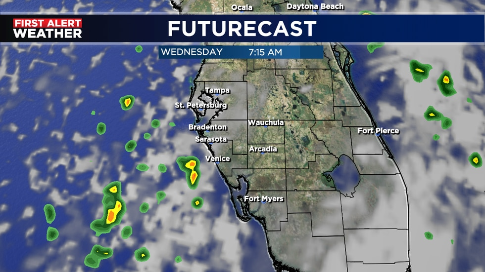 Chance for a few coastal morning showers