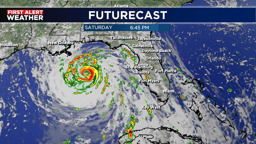 HI-RES forecast model for 6:45 p.m. Saturday of Ida