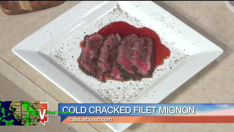 Cold Cracked Filet Mignon from Cafe Barbosso on Suncoast View.