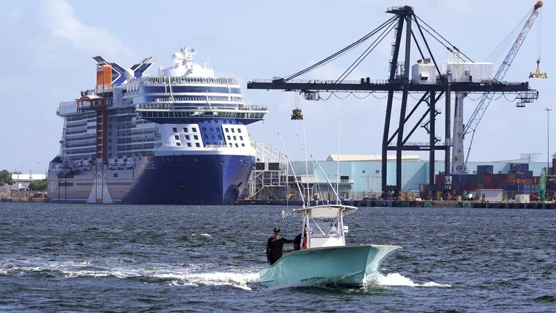The Celebrity Edge cruise ship is docked at Port Everglades, Tuesday, June 22, 2021, in Fort...