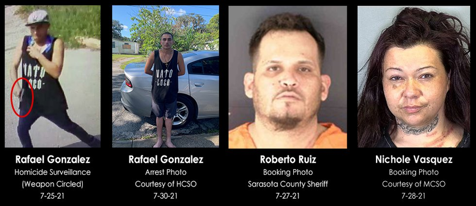 The suspects in a July 25 murder in Sarasota.