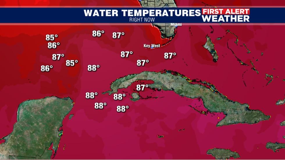 Caribbean & Gulf Water Temps. Friday night