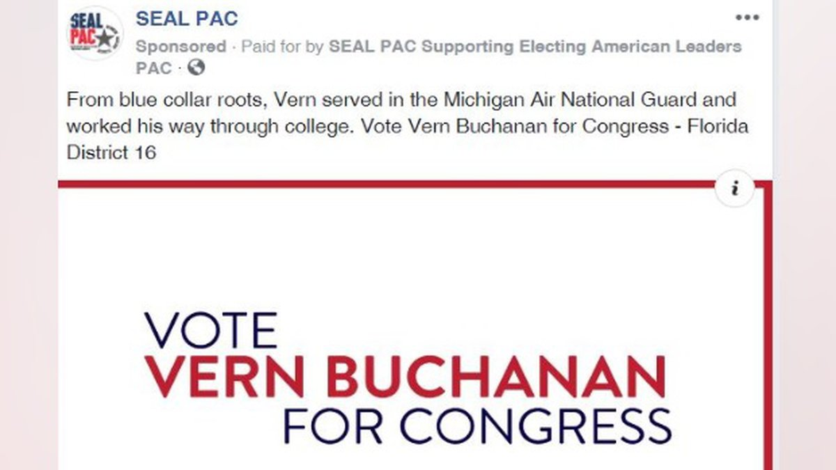 SEAL PAC runs a Facebook ad targeting voters to vote for Vern Buchanan.