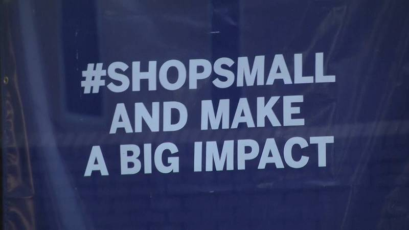 Shop Small and Make a Big Impact sign in the Shenandoah Valley