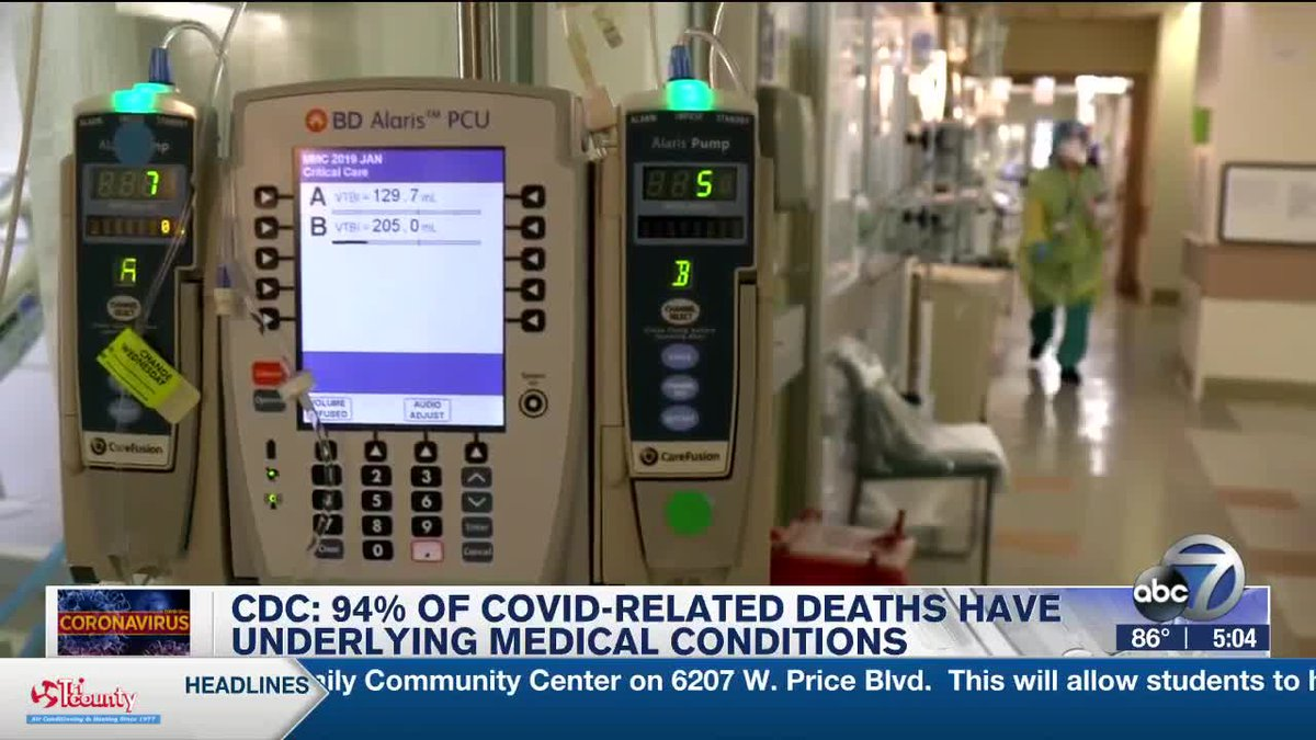 CDC: 94% of COVID-Relates Deaths Have Underlying Medical Conditions