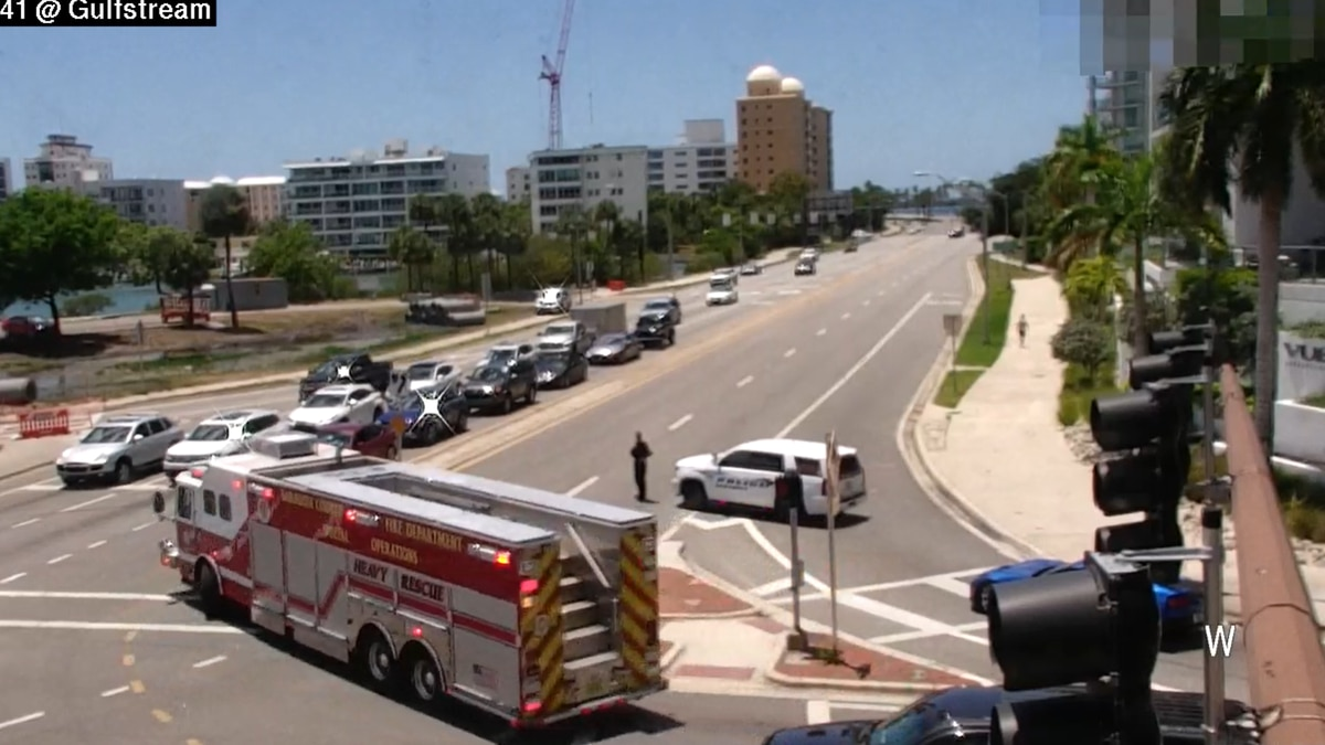 A Sarasota Fire Department truck is see en route to a gas leak near Bird Key Friday.