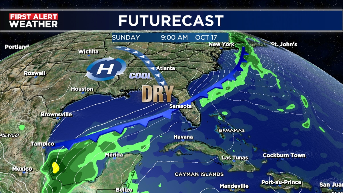 Slightly cooler and drier air moves in Sunday