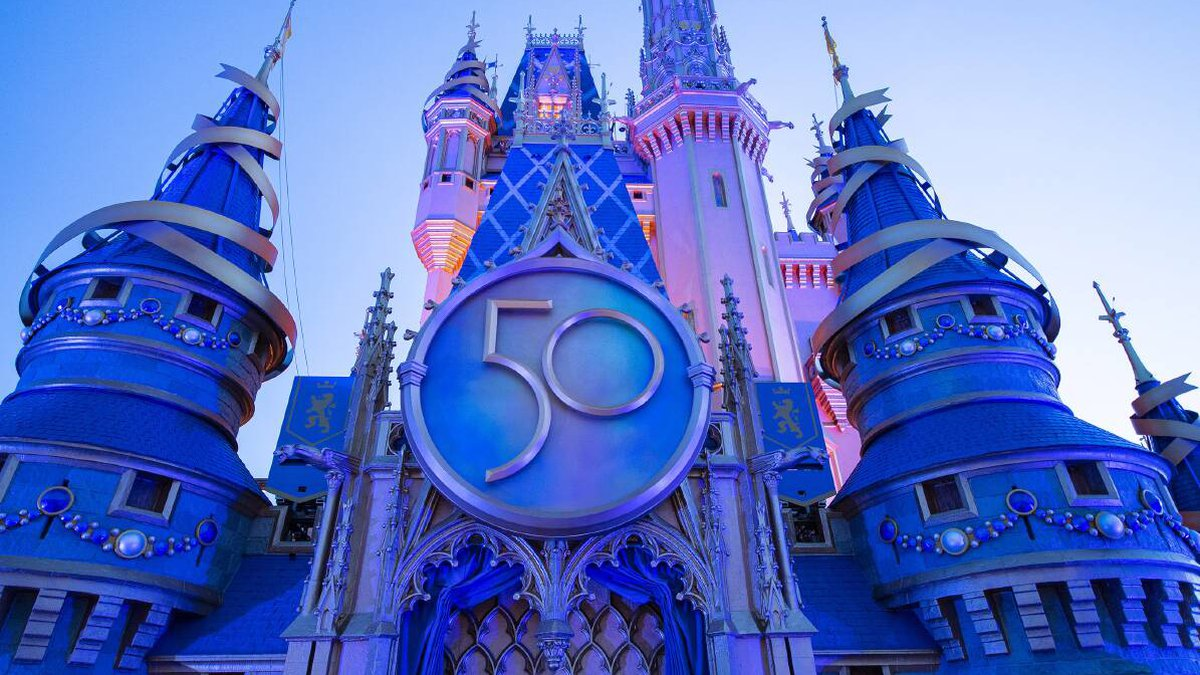 Cinderella's Castle decorated for the 50th Anniversary. CREDIT: Walt Disney World
