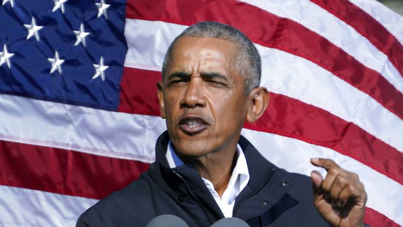 FILE - Former President Barack Obama speaks at a rally as he campaigns for Democratic...