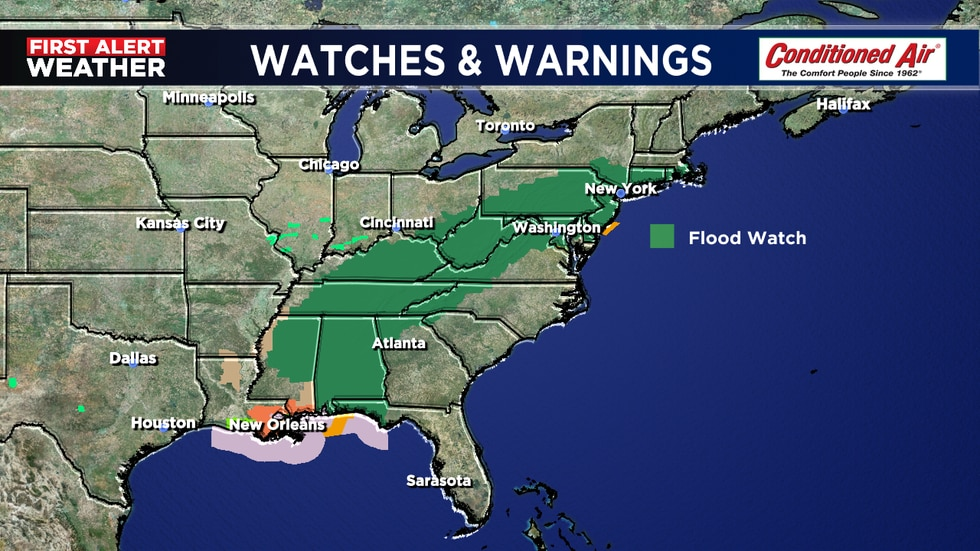 Flood watch up for parts of 12 states