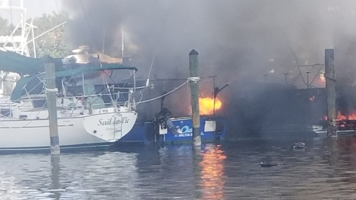 Two boats started on fire at the Venice Yacht Club and the flames spread to other vessels