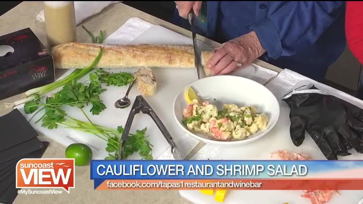 Suncoast View prepares Cauliflower and Shrimp Salad from Tapas1 Restaurant & Wine Bar.
