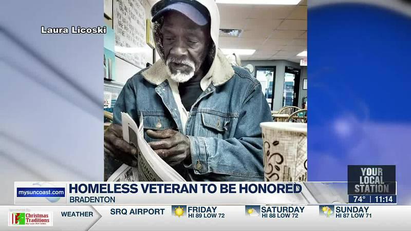 Homeless veteran to be honored.