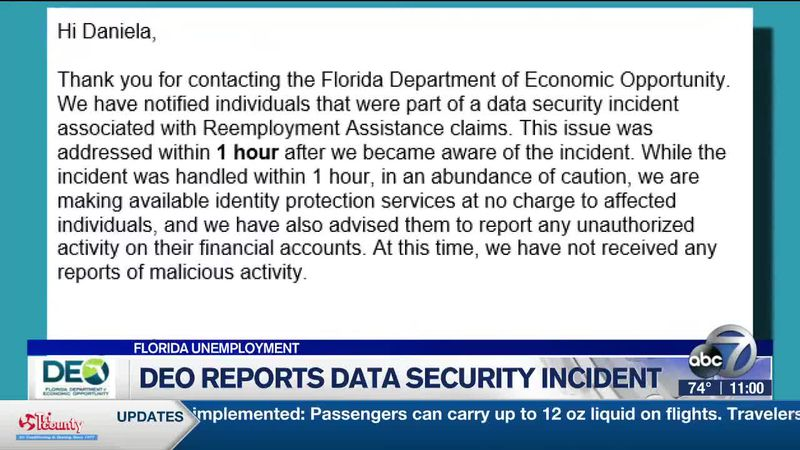 DEO Reports Data Security Incident - 11pm Report