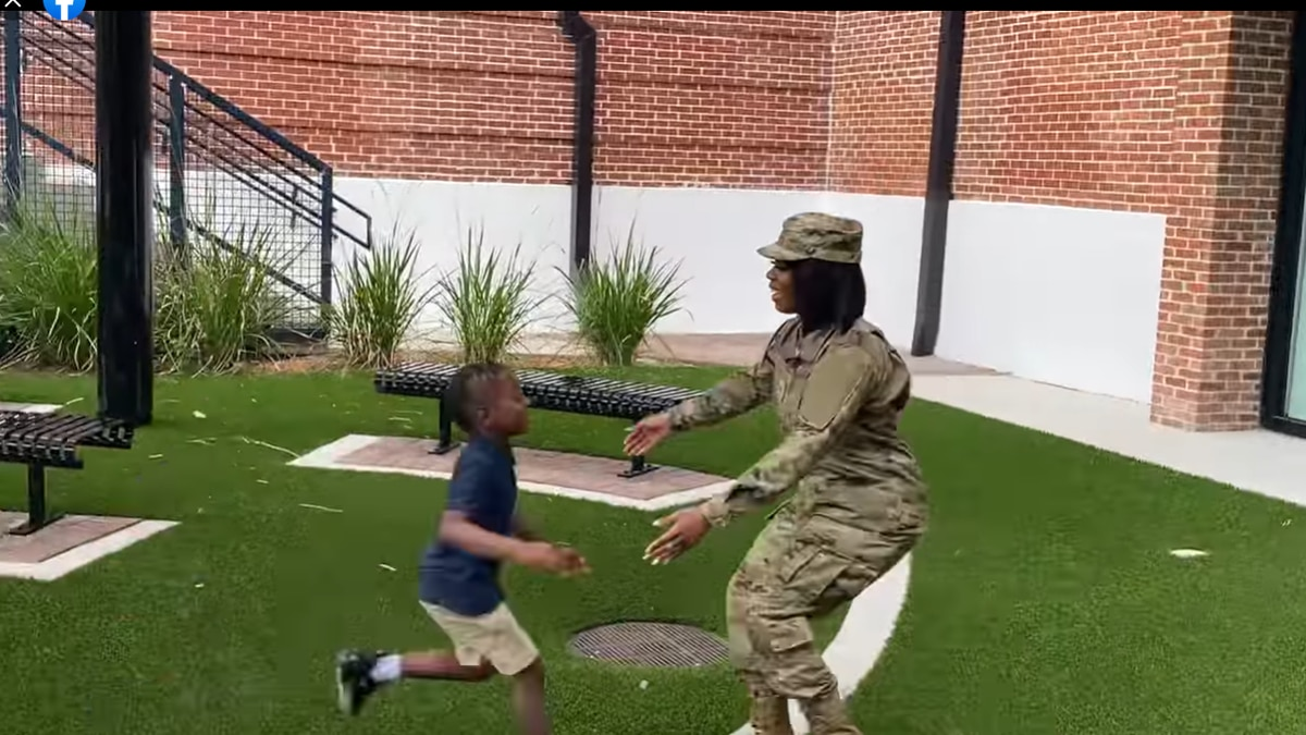 Eboni Bailey surprises her son after being deployed for six months overseas with the Air Force.