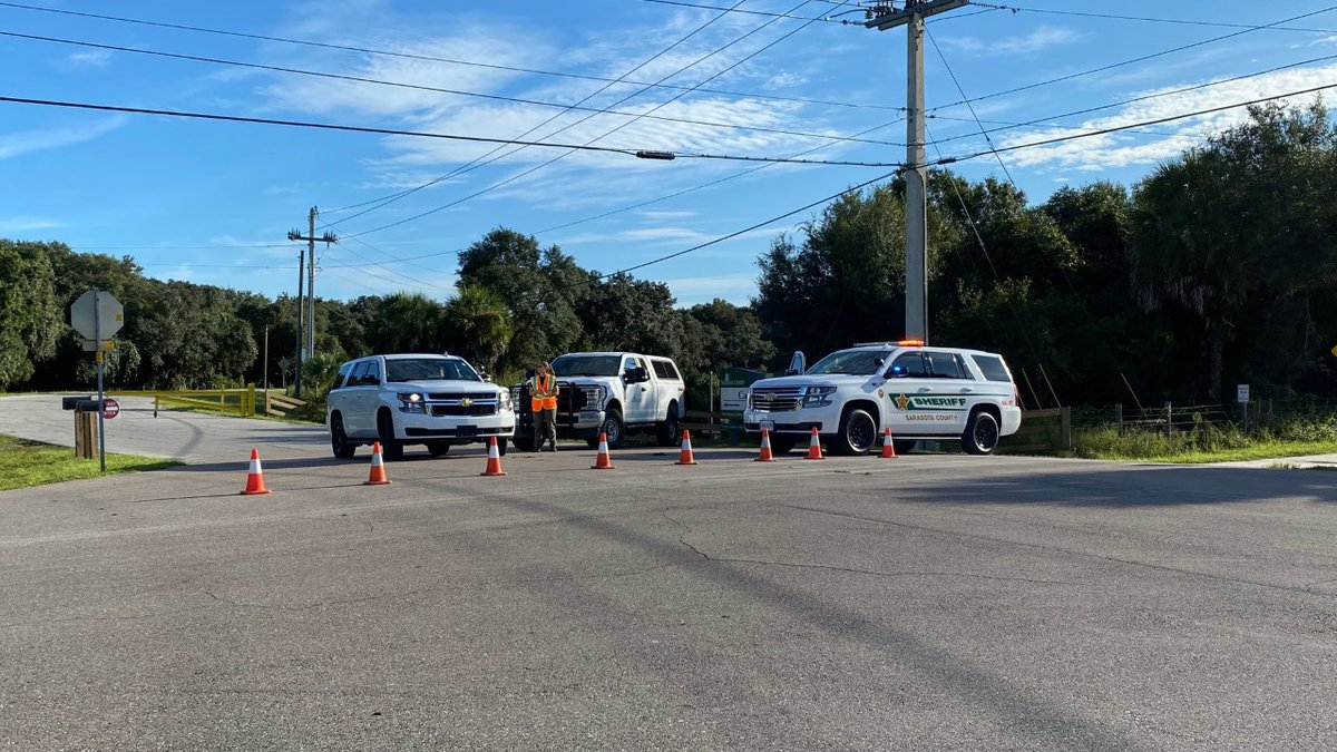 The entrance to Carlton Reserve was blocked off by sheriff's deputies Tuesday morning