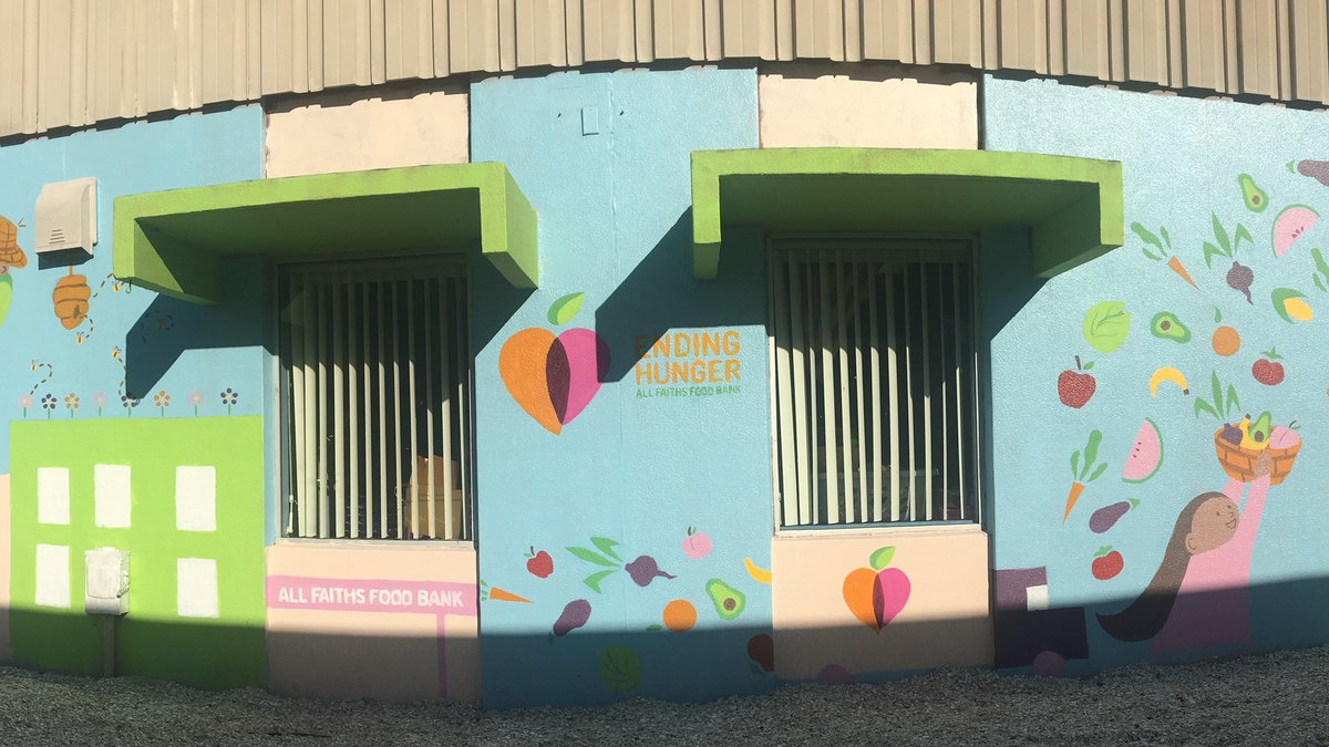The mural was created by Matti Wenger at Alta Vista Elementary School, where the food bank runs...