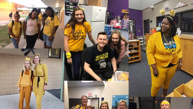 """Students and staff """"Go Gold"""" at Booker Middle School"""