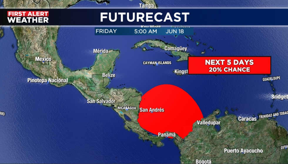 Area to watch in the southern Caribbean with a 20% chance for formation in 5 days.