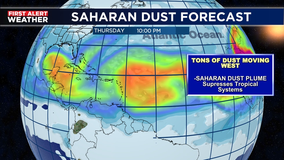 Large patches of African dust expected over next several days