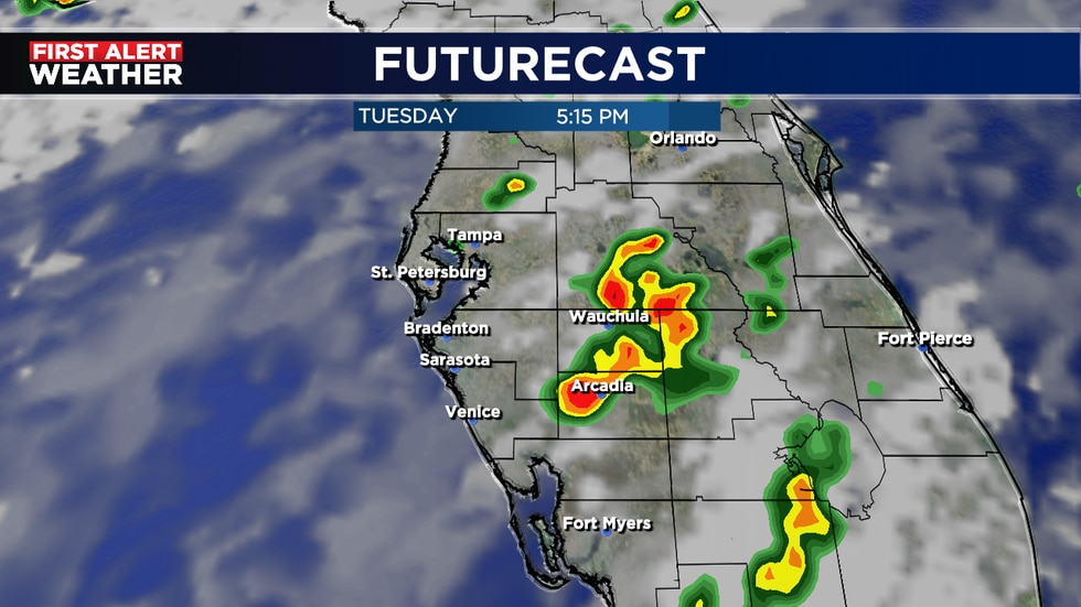 A.M. Showers possible near beaches