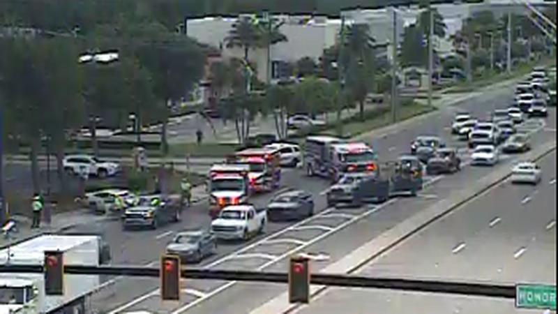 A crash has blocked westbound lanes of Clark Road.