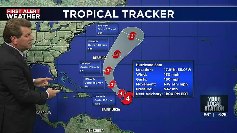Sam looks to push east of Bermuda