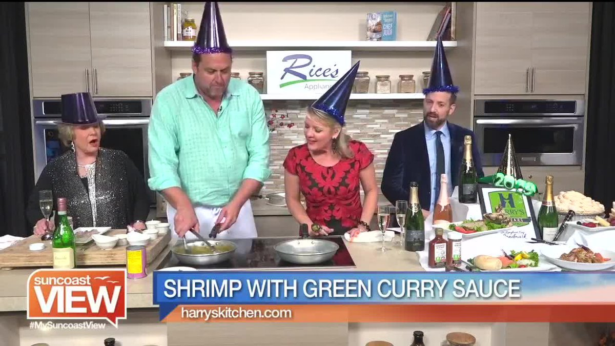 Harrry's Continental Kitchen makes shrimp with green curry sauce.