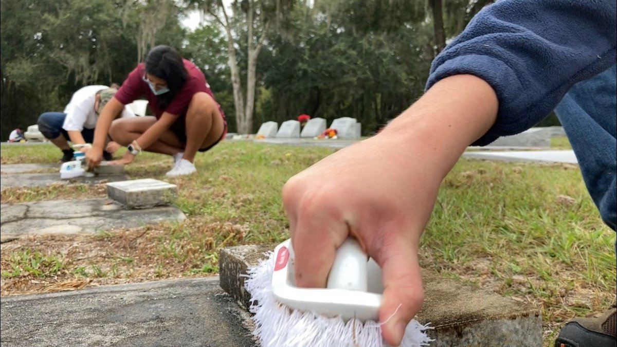 Community has successful clean-up Saturday at the Parrish Cemetery