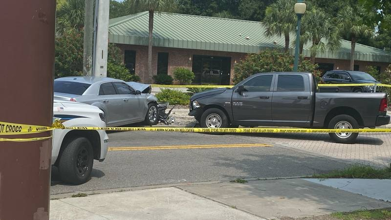 This crash Tuesday led to the arrest of a murder suspect.