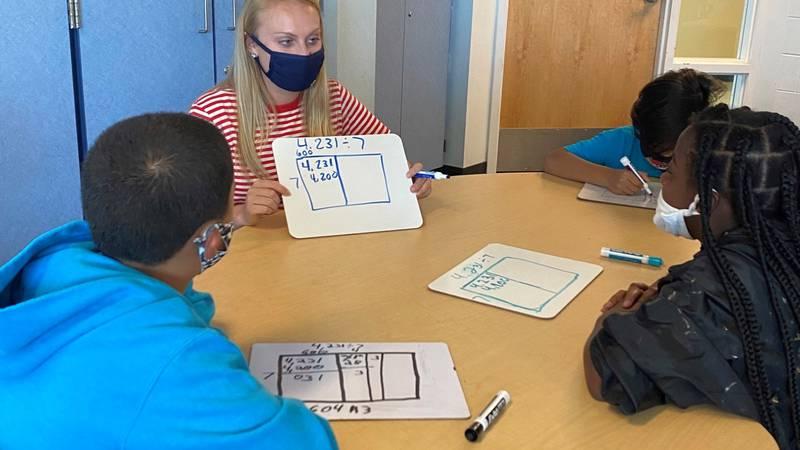 Claire Schroeder teaching during math class.