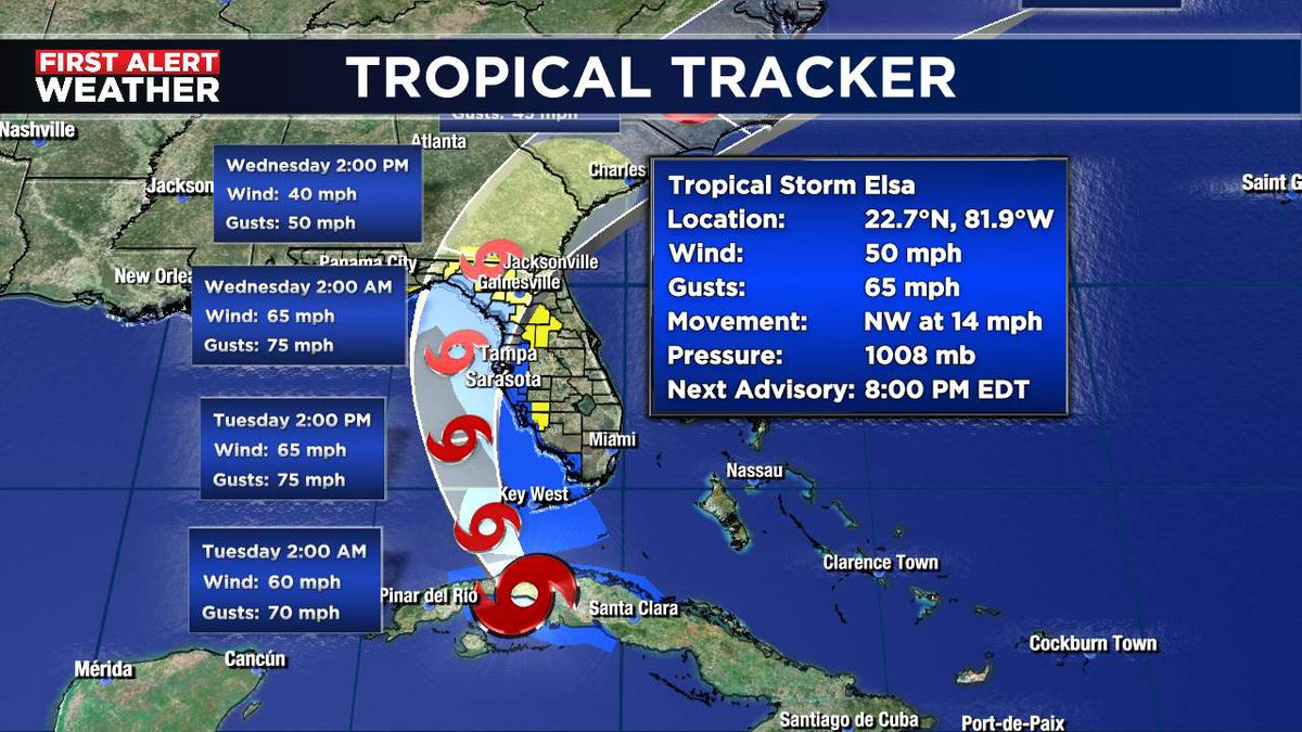 Here is the 8 p.m. Elsa forecast cone from the National Hurricane Center