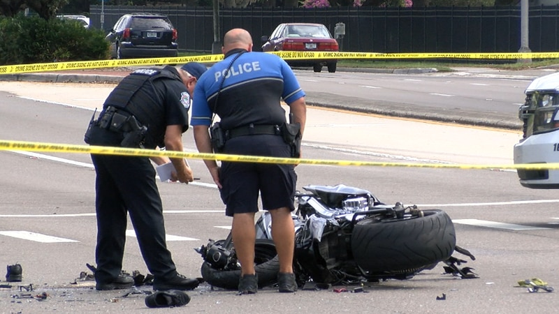 Sarasota Police examine the wreckage of a motorcycle involved in a crash Monday on Fruitville...