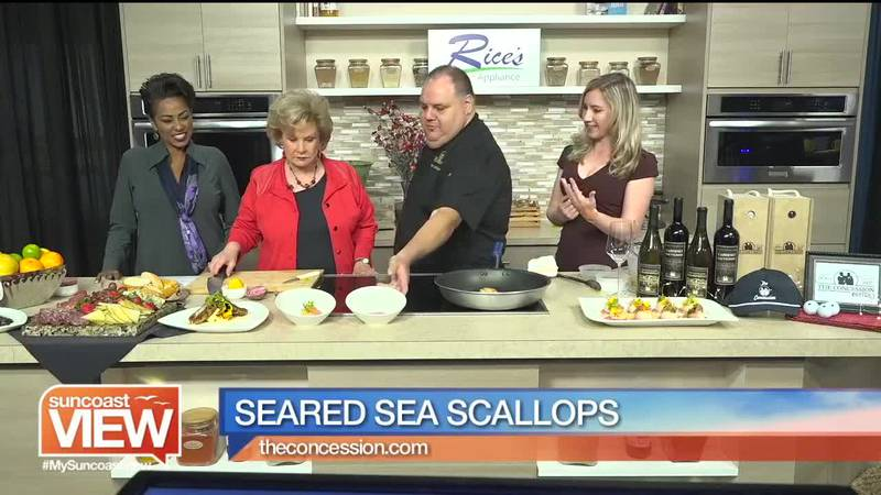 Suncoast View learns to make seared sea scallops from The Concession.
