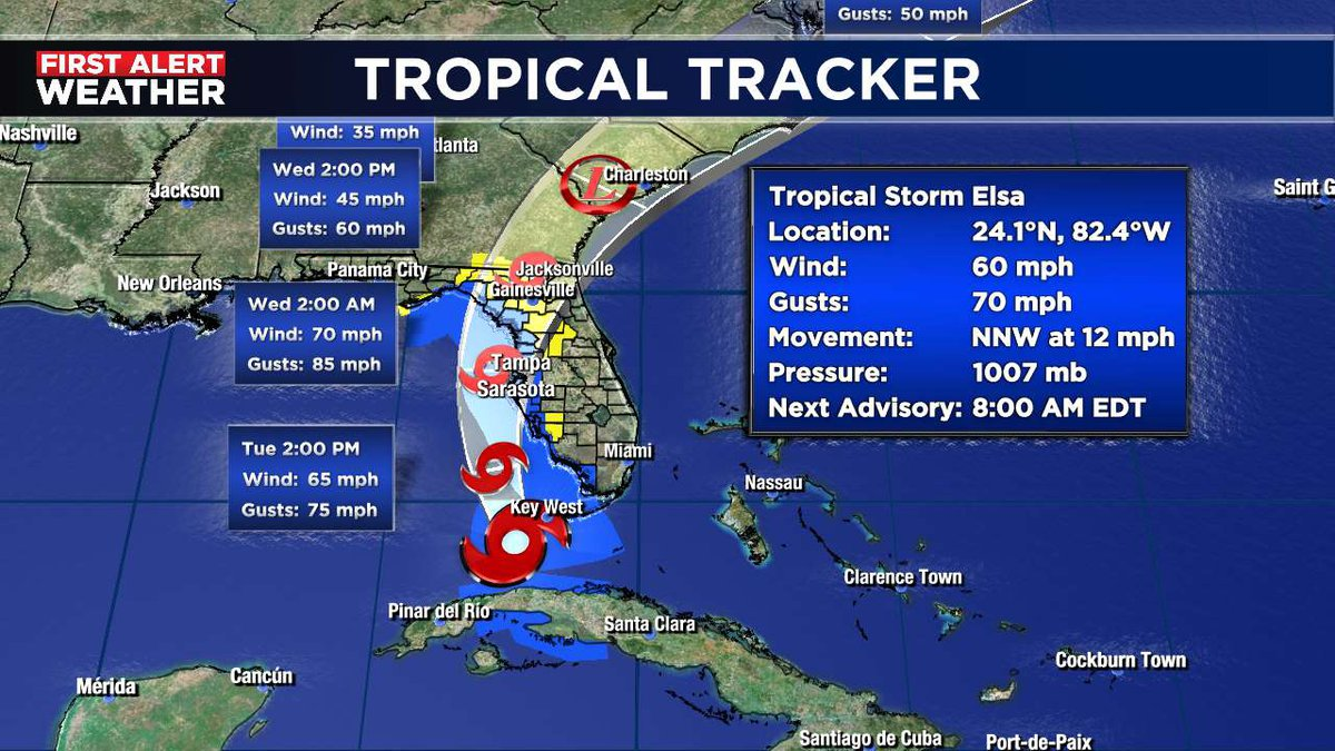 The latest forecast track of Tropical Storm Elsa.