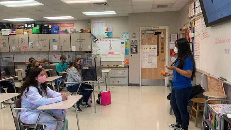 In-class and online learning teacher awarded $500 and named a Chalkboard Champion.