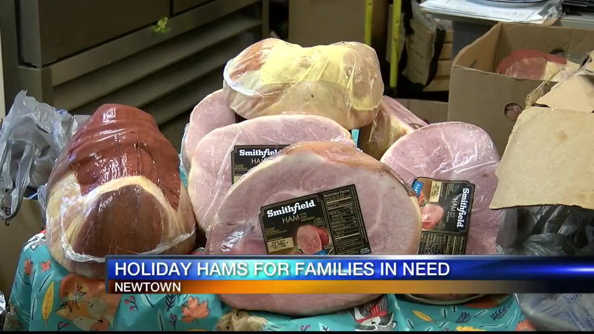 Dollar Dynasty in Newtown providing over 125 hams to people in the community,