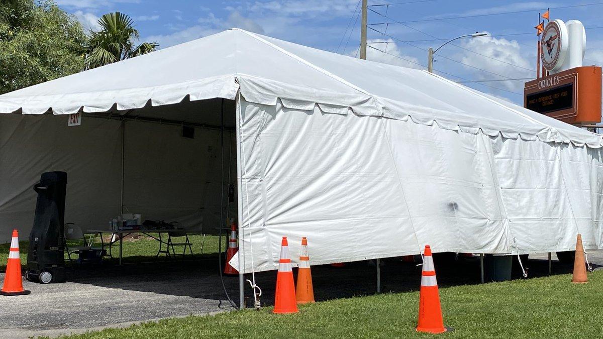 COVID-19 testing site at Ed Smith Stadium