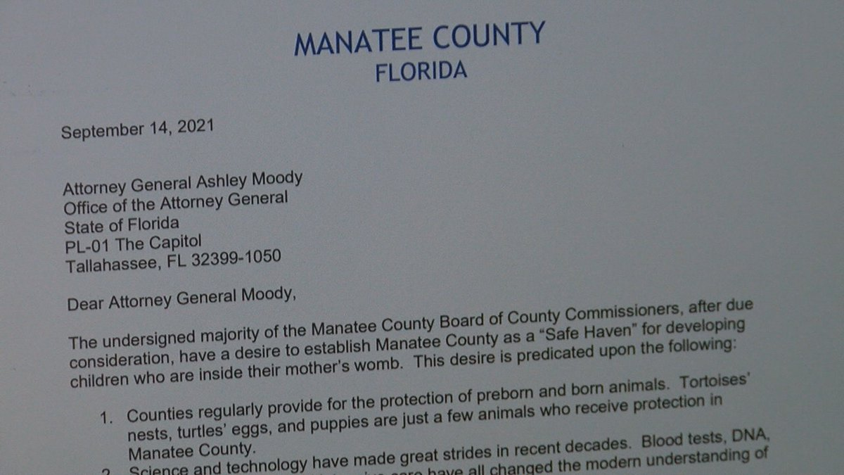 Manatee County Commissioners sending abortion letter to Florida Attorney General Ashley Moody.