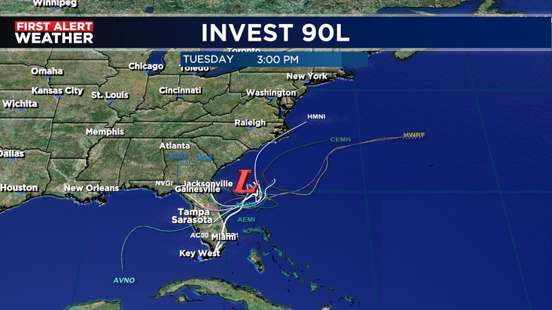 Tropical system developing east of Florida