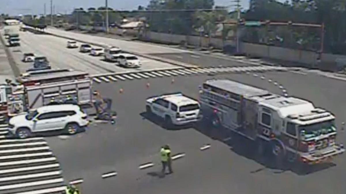 Crash involving motorcycle.