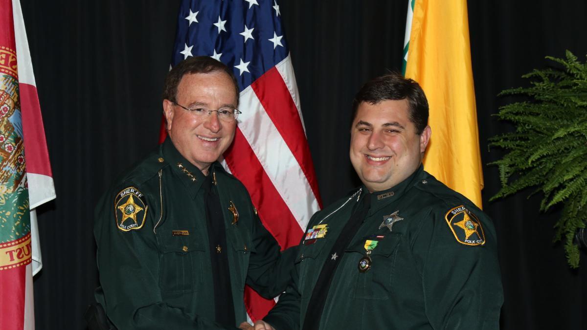 Deputy Broadhead (Right) pictured with Sheriff Grady Judd (Left)