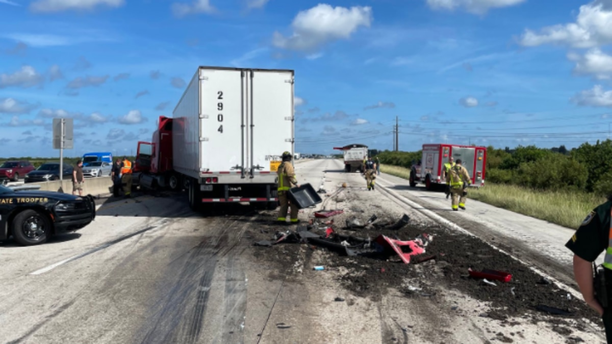 Florida Highway Patrol shared this photo after a manure truck overturned.