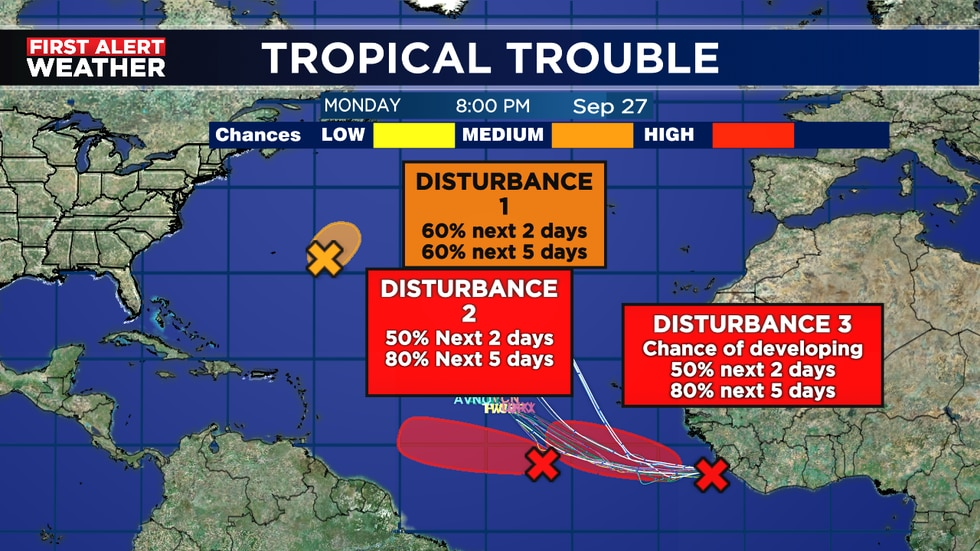 Disturbance number 2 and 3 likely to be named soon