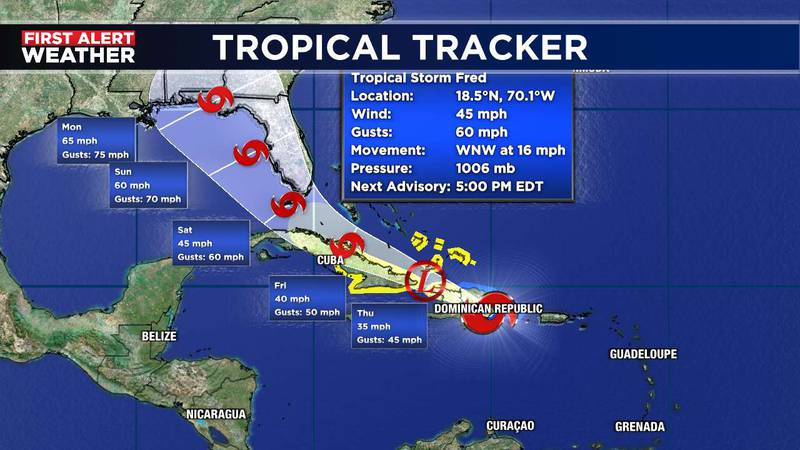 Tropical Storm Fred 2PM Wed Update