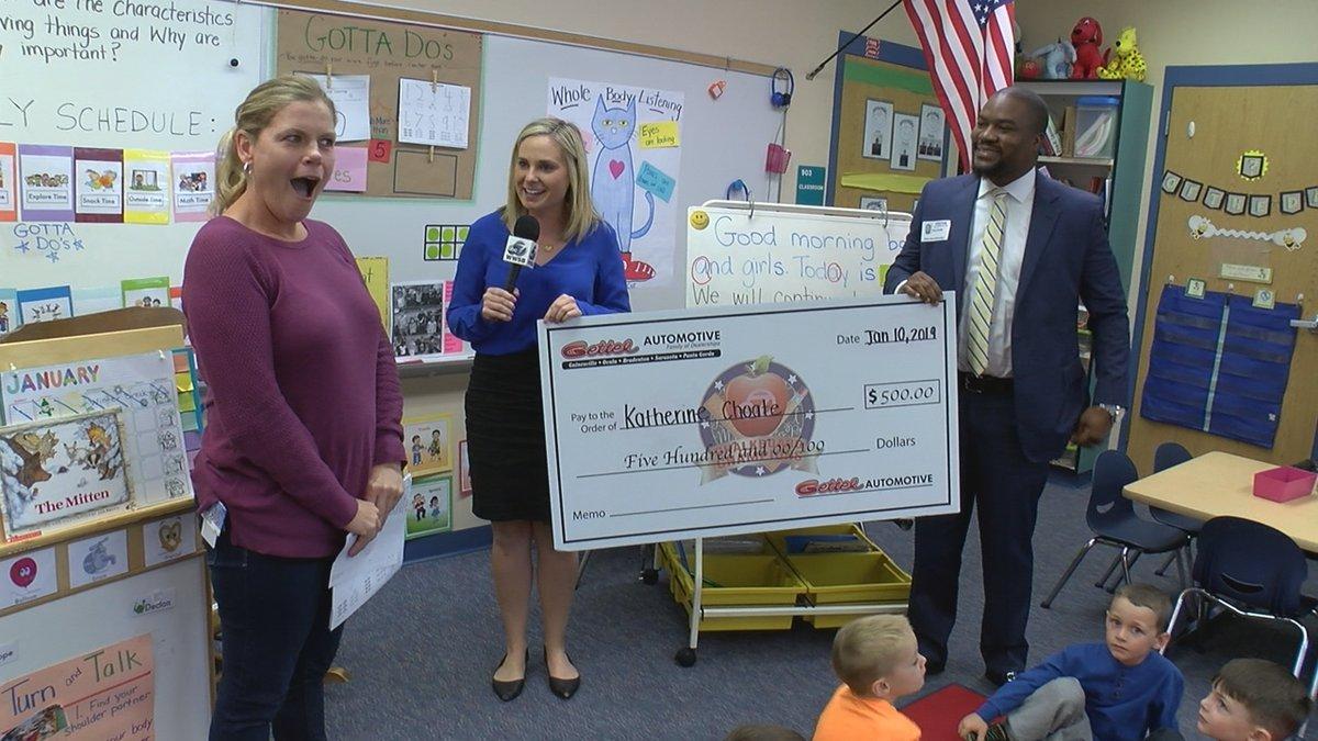 Mrs. Katherine Choate named Manatee County Chalkboard Champion for January.
