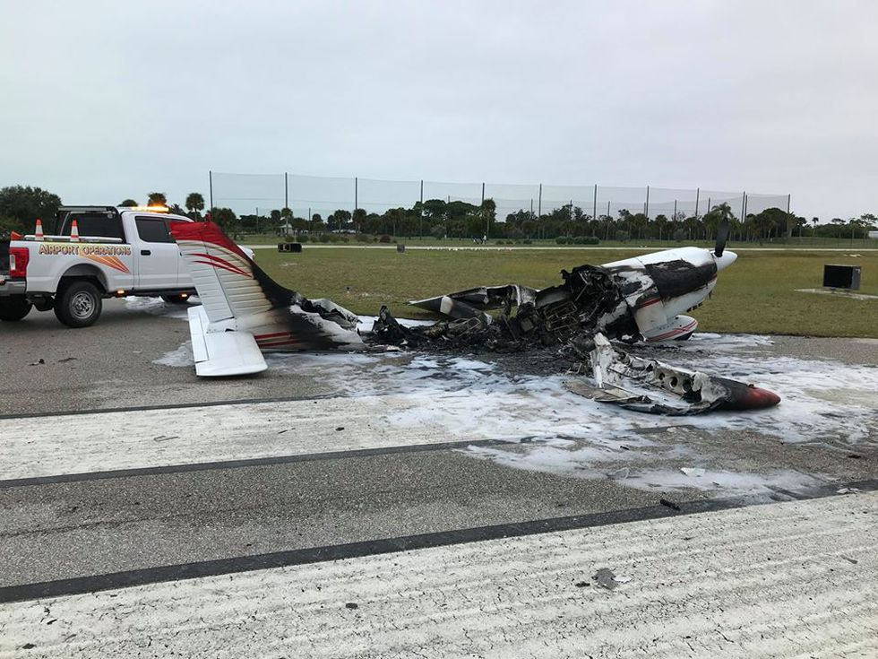 A plane started on fire at the Venice Airport shortly before takeoff.