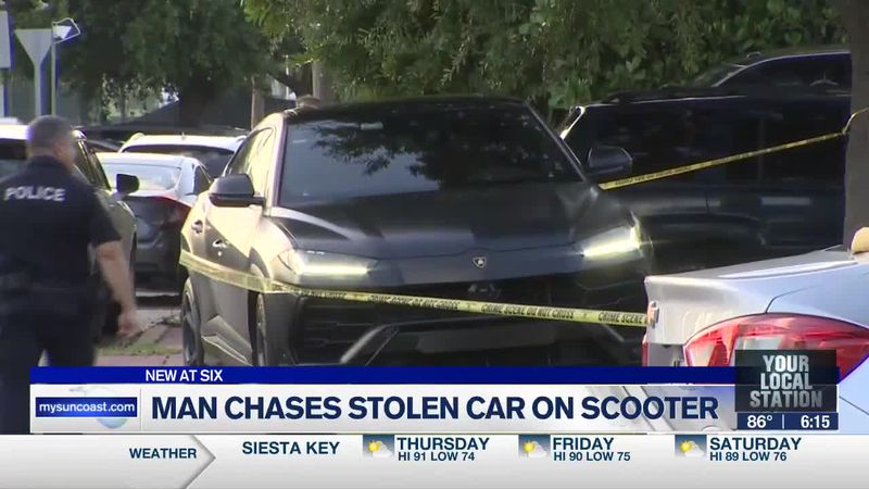 Man chases stolen car on scooter