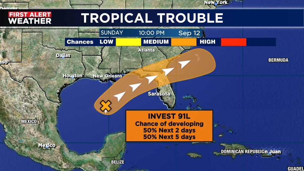 Has a good chance of developing into a tropical depression or storm Weds. night