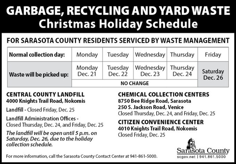 Garbage, Recycling, and Yard Waste Christmas Holiday Schedule.